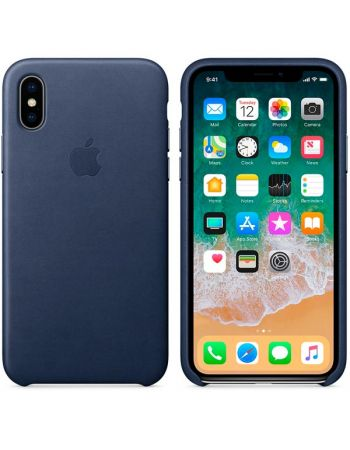 Чехол для iPhone Apple iPhone X Leather Case Midnight Blue